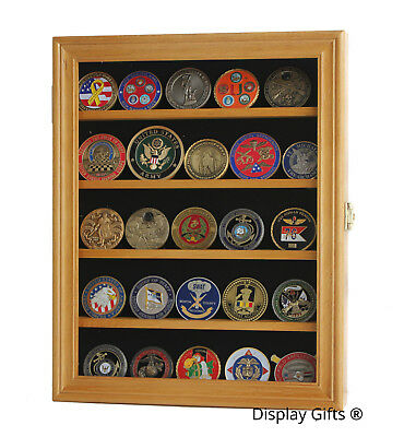 LOCKABLE Military Challenge Coin Display Case Cabinet, Solid Wood, COIN30-OA