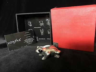 Solid Pewter Enameled Frog by Loyfar with tag and box- Adorable