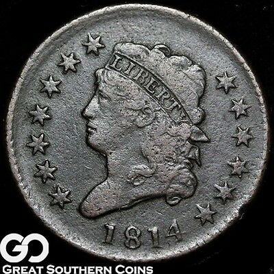 1814 Large Cent, Classic Head, Super Scarce Early Copper, VF++ ** Free Shipping!