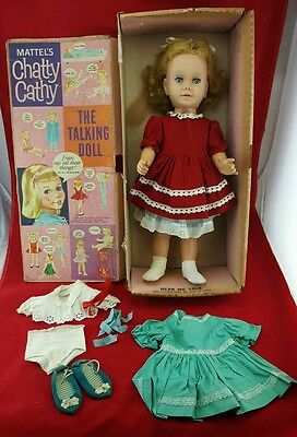 Vtg 1959 Chatty Cathy Talking Doll with Box & extra Clothing & rare blue shoes