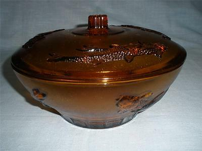 Stunning Amber Glass Large Dish With Lid Decorated