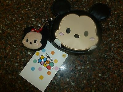 Disney Store Mickey Mouse Tsum Zip Coin Purse w Minnie Plush Charm NWT