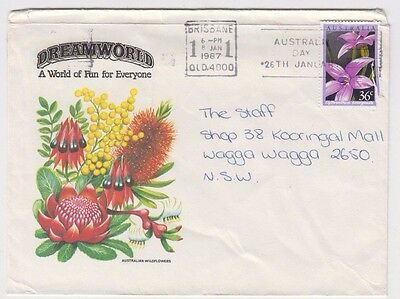 Stamp Australia 36c Orchid on Dreamworld Queensland tourist cover to Wagga Wagga