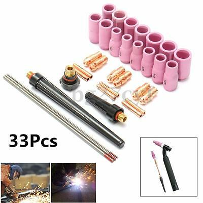 33Pcs Tig Kit & Tig Welding Torch Accessories Spares For WP9 1.6mm/2.4mm/3.2mm