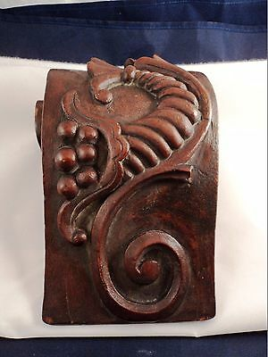 Antique Hand Carved Wood Cornucopia Fireplace Mantle Corbel (AQ179)