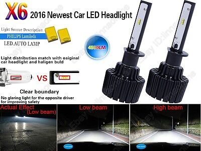 H1 60W New Philips LED Chips 9000LM HID White Fog Lamps Headlight Conversion Kit