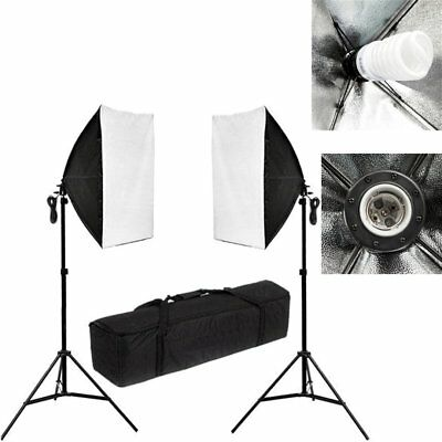 2 x 135W Studio Photography Continuous Lighting 50x70cm Soft Box Light Stand Kit