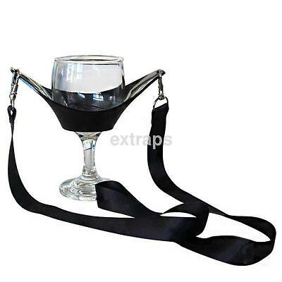 Hands Free Wine Glass Holder Accs Necklace Wine Tasting Black Lanyard Party US