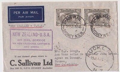 Stamps 1939 Australia 6d brown pair New Zealand to USA flight advert cover