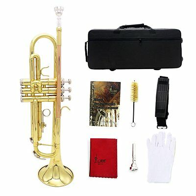 Trumpet Bb B Flat Copper Exquisite Golden with Mouthpiece Brush Cloth Bag SY