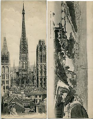 Two Unusual Large Vintage French Picture Postcards Of Rouen