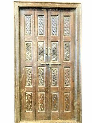 ANTIQUE DOORS in frame HAND CARVED RUSTIC DOUBLE DOOR teak INDIAN FURNITURE 18C