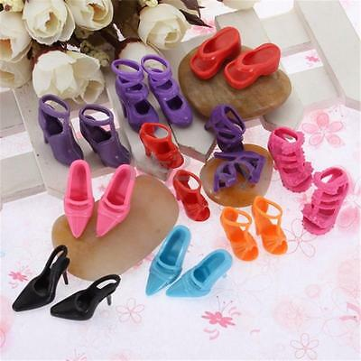 10 Pairs Heels Sandals Set for Barbie Doll Shoes Set Toy  FOZ Clothes Dress