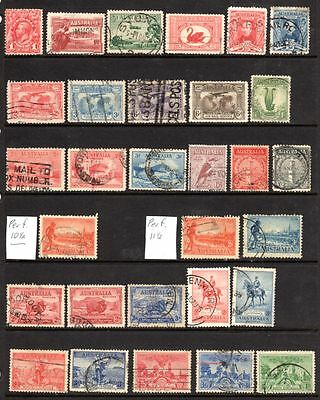 Early Australian pre decimal stamps - many with faults