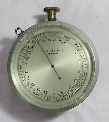 Old Antique Original Surveying Aneroid Compensated Brass Barometer Collectible