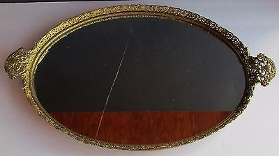 """Antique Brass Floral Art Mid Century Vanity Mirror TRAY Very Detailed Heavy 17"""""""