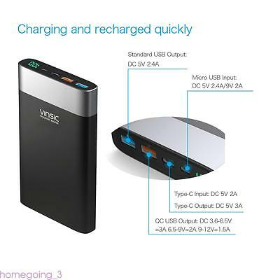 Vinsic 20000mAh QC 3.0 Quick Charge USB Type-C Batteria Fast Charger Power Bank
