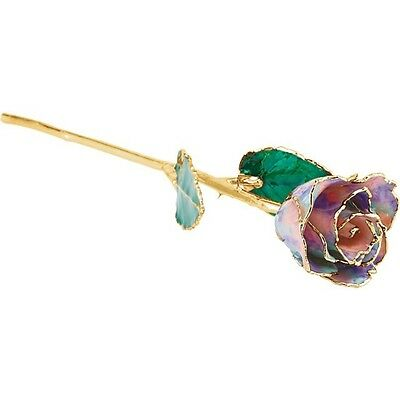 Genuine Real Lacquered OCTOBER OPAL ROSE With 24kt Yellow Gold Trim Perfect Gift