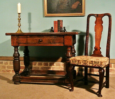 17th Century Joined and Pegged Burr Yew Wood Centre Table c. 1670
