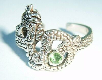 Solid Silver Red Blue Turquoise Crystal Jewelled Chinese Style Dragon Toe Ring