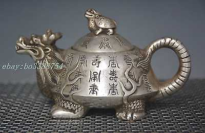 Chinese Old cupronickel Copper hand-made Engraved word turtle Teapot