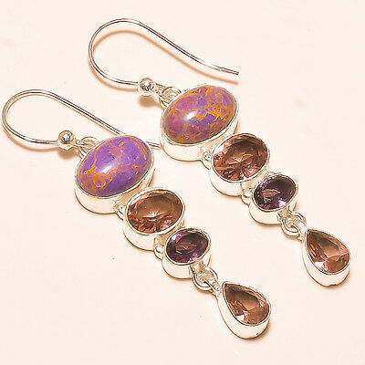 Purple Mohave Turquoise With Amethyst 925 Sterling Silver Earring 2.4""