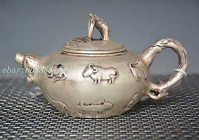 Chinese Old cupronickel Copper hand-made Engraved Zodiac Teapot