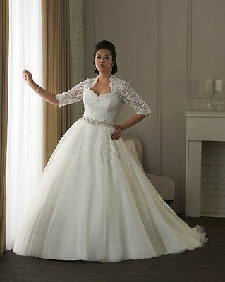 White/Ivory Half Sleeves Beading Wedding Dress Bridal Gown Ball Prom Plus Size