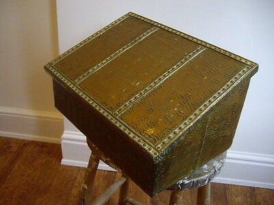 LOVELY VINTAGE 1930's 40s ART DECO COPPER WOODEN OFFICE Desk Log Box Rustic