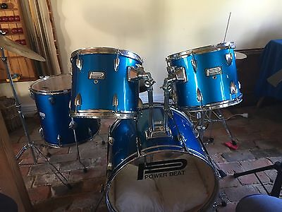 Power Beat Drum Kit metallic blue with snare drum and Meteor cymbal