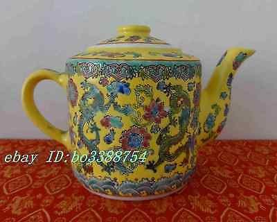 Vintage Chinese Dragon Floral Chinese Porcelain Yellow Teapot With Cup