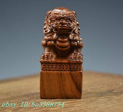 Collect  Chinese Wood Foo Fu Guardion Door Lion Statue Sculpture