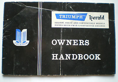 TRIUMPH HERALD OWNERS HANDBOOK for SALOON & COUPE WITH TWIN CARBURETTOR ENGINES