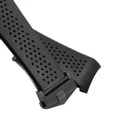 Black Clasp Rubber Diver Watch Strap Band TAG HEUER CARRERA 22mm Replacement