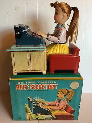 Vintage Tinplate battery operated Linemar Japan Busy Secretary Mint in Box