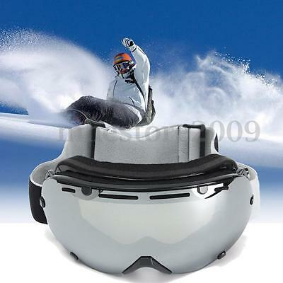 Anti-fog UV400 Silver Ski Goggles Dual Lens Mirror Snowboard Glasses Windproof