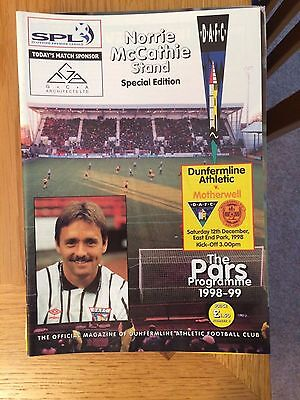 DUNFERMLINE v MOTHERWELL 12.12.1998 NORRIE McCATHIE STAND SPECIAL ISSUE