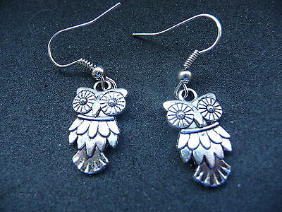 Tibetan Silver Feathered Owl Earrings NEW