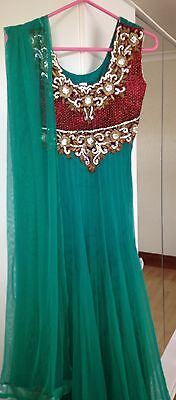 Green & Red Anarkali Suit
