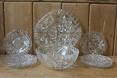 Vintage Glass Serving Set, Bowl, Plates ,Stars and Bars MINT 1940s