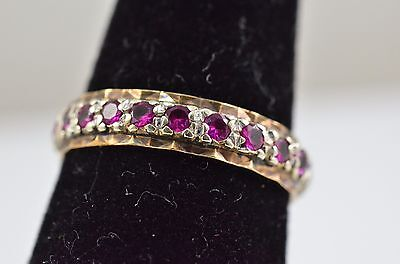 beautiful 9 ct gold Ruby full eternity ring size L 2g cased