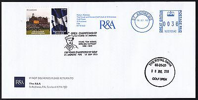 R & A envelope with St Andrews Int. Postcard rate stamp/label, meter mark +
