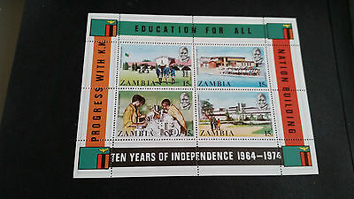 Zambia 1974 Sg Ms217 10Th Anniv Of Independence. Mnh