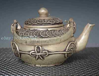 Chinese Old cupronickel Copper hand-made Chinese coins Teapot