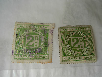 North British Railway  two 2d railway letter stamps