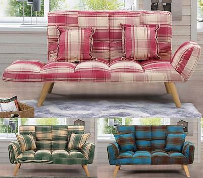 Modern Cool Fabric Small 2 Seater Sofa Tartan Plaid Style Blue / Green / Red