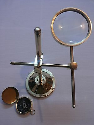 Magnifier Brass Map Reader Magnifying Glass Collectible Table Top Decorative