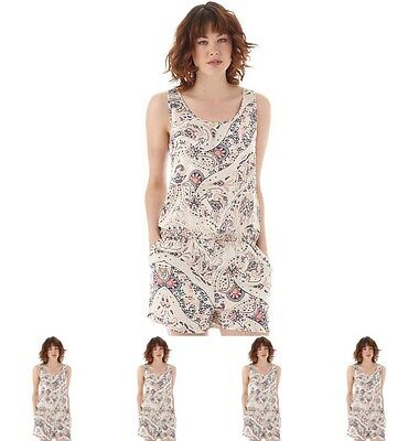 MODA Only Womens Summer Paisley Solid Strap Playsuit Paisley/Cloud Dancer UK 6