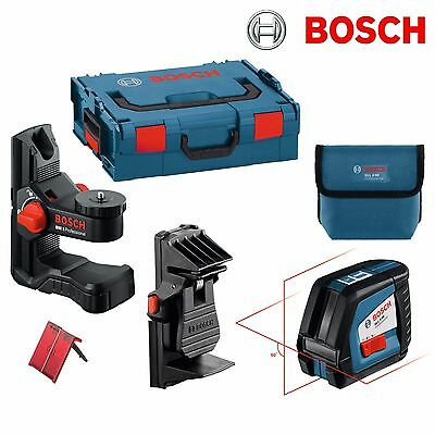 Bosch GLL2-50 Cross Line Laser with target + BM1 Wall Mount and Ceiling Clamp