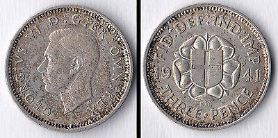 1941 George VI silver threepence (3d)